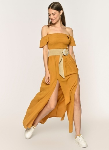 Loves You Çift Yırtmaçlı Göğsü Lastik Gipeli Krinkıl Maxi Elbise Hardal